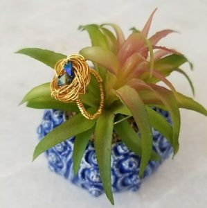 Gold plated wire wrap nest ring hand made